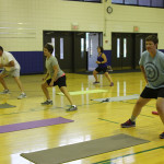 lateral lunge in group fitness class