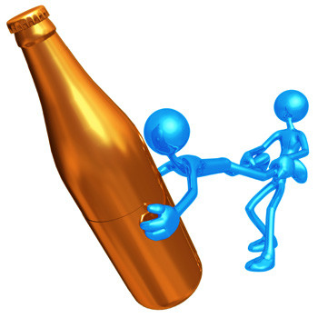 image of gold bottle and blue man pulling another blue man away from bottle