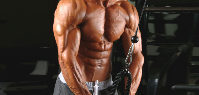 bare chested man performing tricep pressdown with rope