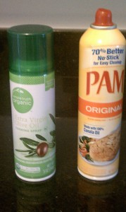 spray cans of extra virgin olive oil and pam original