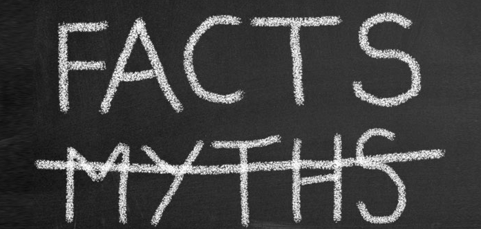 sign with the word facts and the word myths crossed out