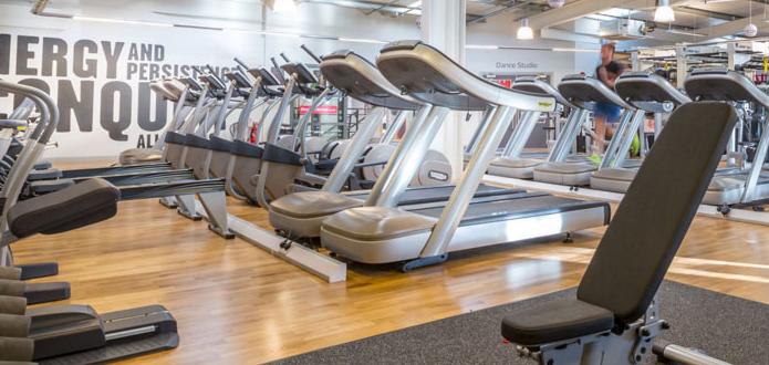 a row of empty treadmills in a gym