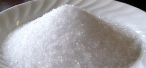 a pile of sugar on a plate