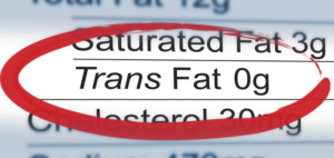 nutrition label with trans fat circled