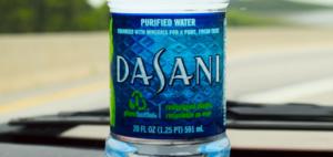 bottle of dasani water