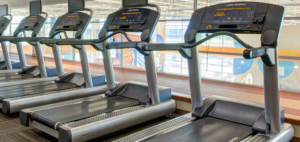 a row of unused treadmills