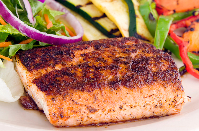 wild salmon and vegetables