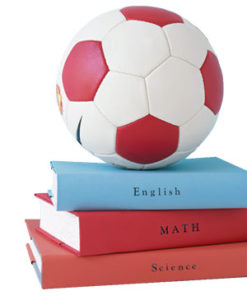english math and science textbooks, soccer ball