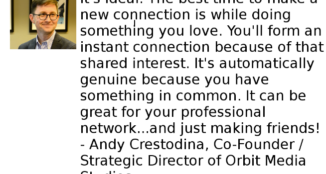 andy crestodina quote about networking in exercise classes