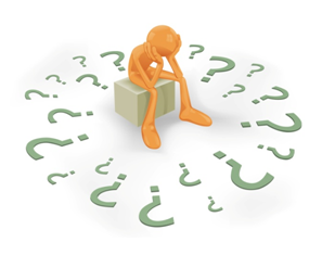orange figured man sitting and surrounded by question marks