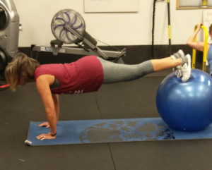 plank on stability ball