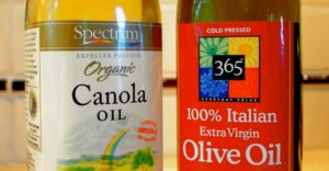 bottle of canola oil and of olive oil