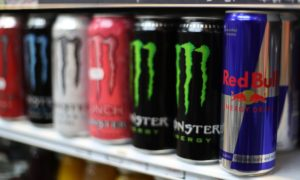 energy drinks on a grocery store shelf