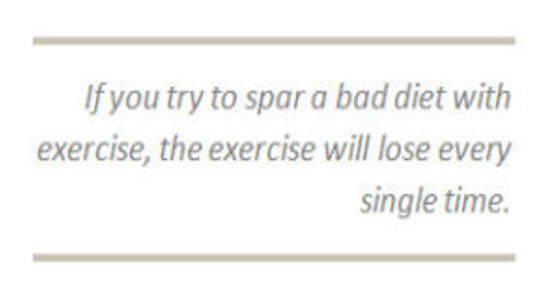 a sign saying you can't out exercise a bad diet