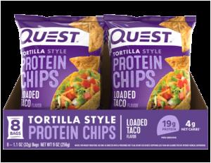 Box of Quest Loaded Taco tortilla chip bags