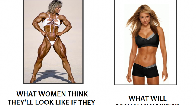woman bodybuilder and fit woman