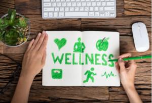 the word wellness written on a paper lying on a desk