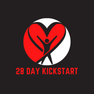 28 day kickstart with person standing in front of red heart and a black background